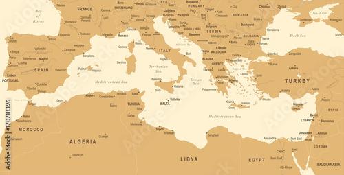 Foto op Aluminium Mediterranean sea Map - Vintage Vector Illustration