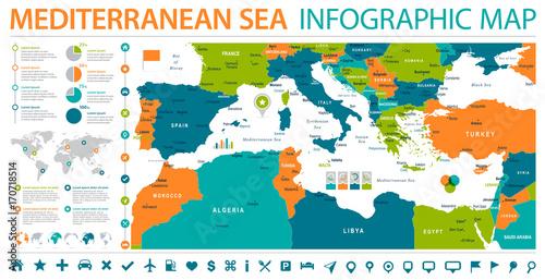 Mediterranean sea Map - Info Graphic Vector Illustration – kaufen ...
