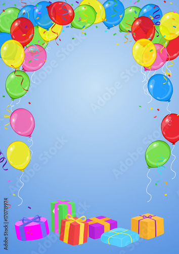 Vector Birthday Or Party Invitation Card With Balloons