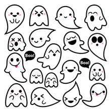 Cute Vector Ghosts Icons, Hall...
