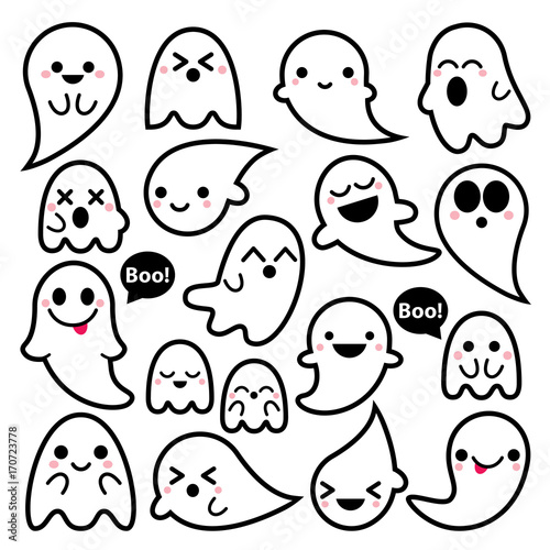 Valokuvatapetti Cute vector ghosts icons, Halloween design set, Kawaii black stroke ghost collec