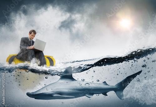 Obraz na plátně Concept business et risque stratégique
