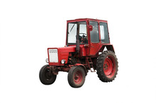 Old Red Farm Tractor Isolated