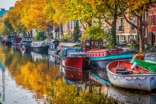 beautiful canals in Amsterdam in autum, Holland