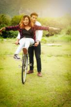 Couple Of Romantic Lovers Sitt...