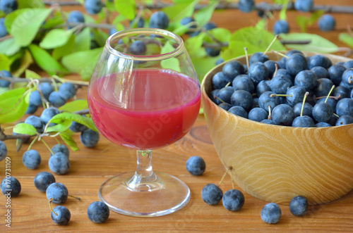Wine glass with sloe gin among sloe berries and blackthorn branch Tapéta, Fotótapéta