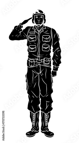Cartoon army Soldier Saluting Shape Vector - Buy this stock