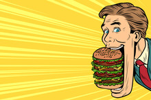 Hungry Man With A Giant Burger...