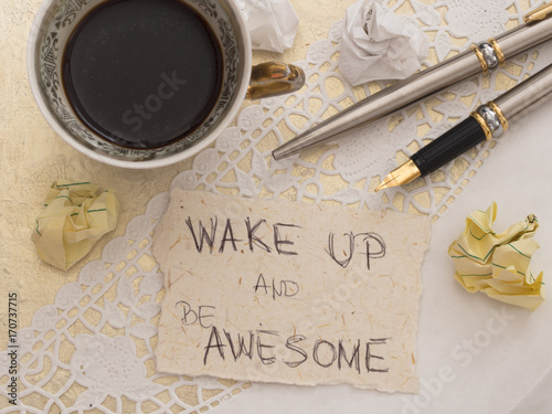 Fotografie, Obraz  cup of coffee with motivation quote