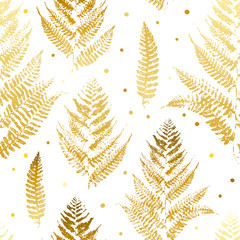 Fototapeta Seamless pattern with golden fern leaves