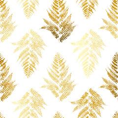 FototapetaSeamless pattern with golden fern leaves