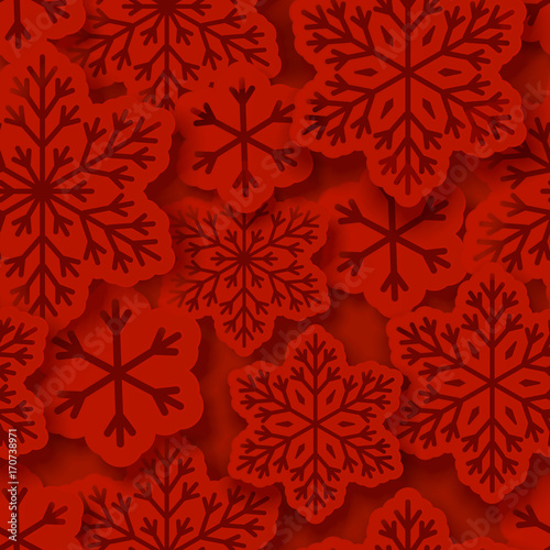 Cotton fabric Seamless pattern with paper snowflakes