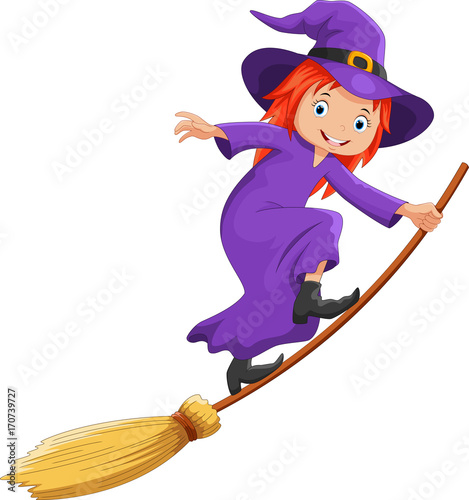 Obraz na plátně Vector illustration of cute cartoon witch flying on a broomstick