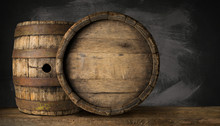 Old Wooden Beer Barrel On The ...