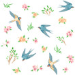Seamless pattern with spring birds and flowers / There are some flying swallows, grass, pink and yellow flowers