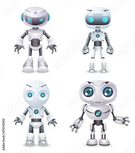 Robot innovation technology science fiction future cute little 3d design vector Canvas Print