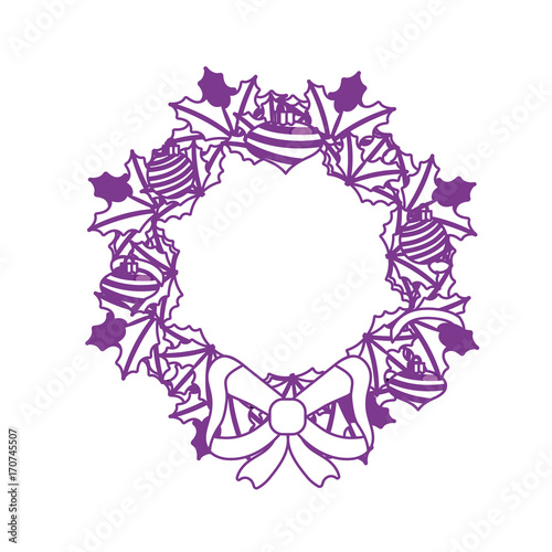 Christmas Wreath Silhouette Vector.Silhouette Christmas Wreath Garland With Christmas Design