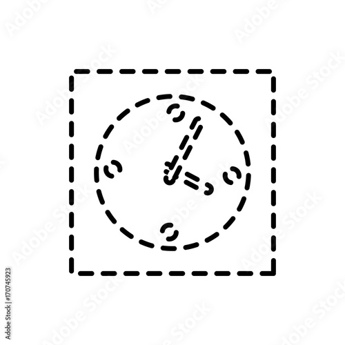 Fototapety, obrazy: flat line  monocromatic clock  over white  background   vector illustration