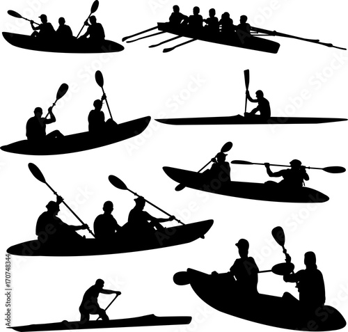 Stampe  rowing collection silhouettes - vector
