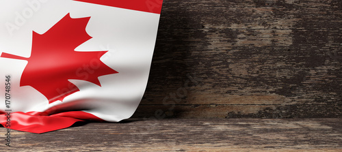 Spoed Foto op Canvas Canada Canada flag on wooden background. 3d illustration