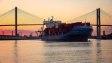 Fototapeta Sawanna - Commercial Container / Cargo Ship on Savannah River at Sunset