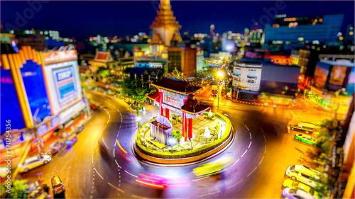 Bangkok Skyline and China Gate in Chinatown (logos blurred)