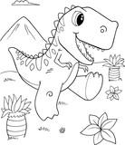 Fototapeta Dinusie - Cute Tyrannosaurus rex Dinosaur Vector Illustration Art