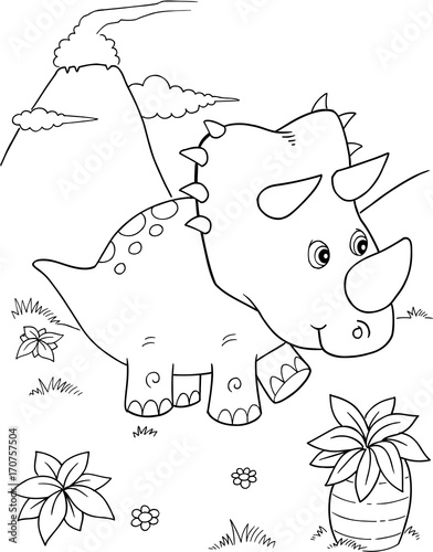 Foto auf AluDibond Cartoon draw Cute Triceratops Dinosaur Vector Illustration Art