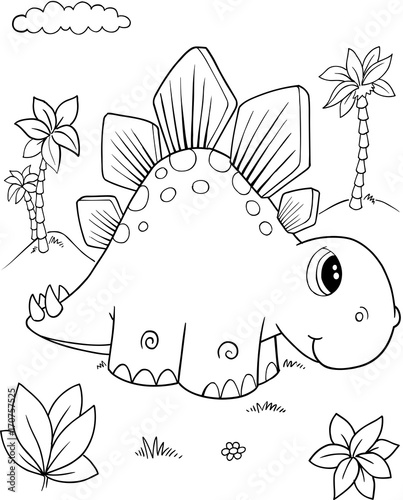 Papiers peints Cartoon draw Cute Stegosaurus Dinosaur Vector Illustration Art