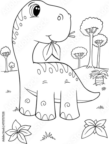 Poster Cartoon draw Cute Brachiosaurus Dinosaur Vector Illustration Art