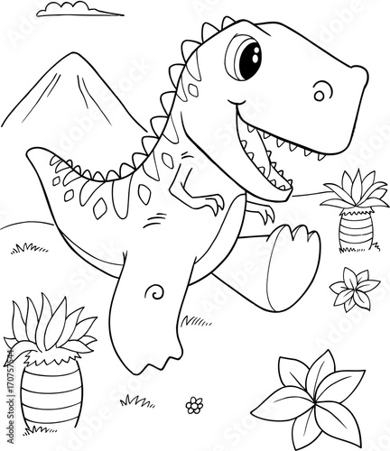 Poster Cartoon draw Cute Tyrannosaurus rex Dinosaur Vector Illustration Art
