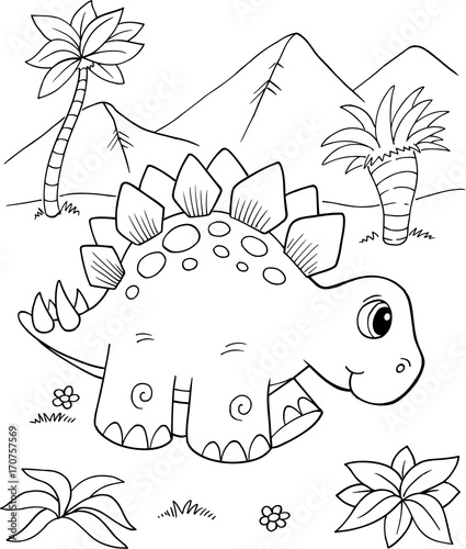 Cute Stegosaurus Dinosaur Vector Illustration Art