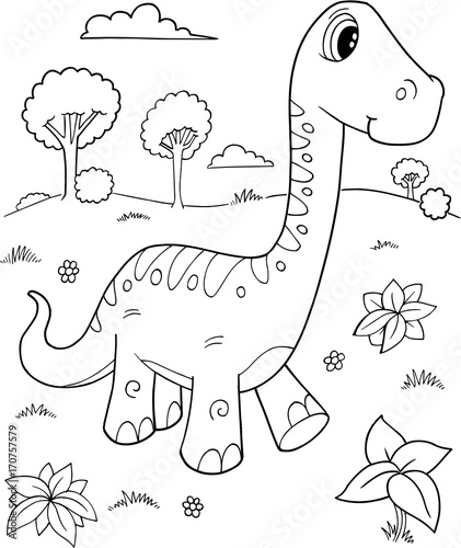 Papiers peints Cartoon draw Cute Brachiosaurus Dinosaur Vector Illustration Art
