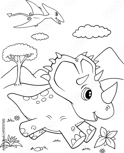 Papiers peints Cartoon draw Cute Triceratops Dinosaur Vector Illustration Art