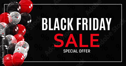 Tela  Black Friday Sale Banner Template. Vector Illustration