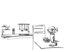 Kitchen Interior Drawing. Furn...