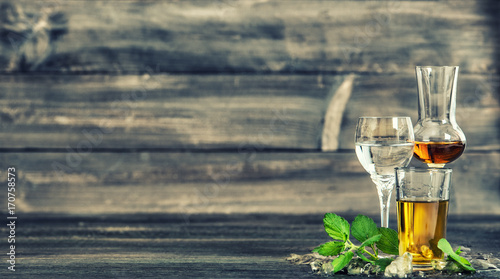 Alcoholic drinks ice mint leaves Food beverages vintage toned