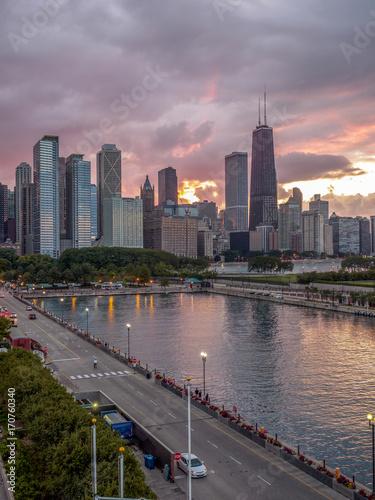 Poster Chicago Chicago skyline at sunset