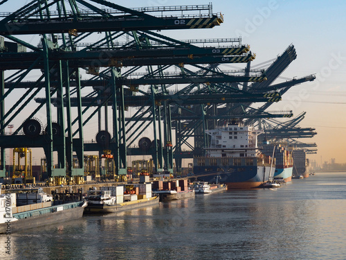 In de dag Antwerpen Harbor cranes unloading containers from ships on a sunny morning in the port of Antwerp.