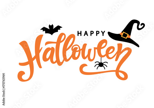 Leinwand Poster Happy Halloween typography poster with handwritten calligraphy text