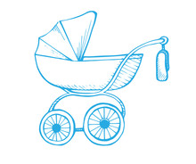 Hand Drawn Baby Stroller Isola...