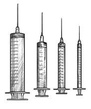 Syringe Illustration, Drawing, Engraving, Ink, Line Art, Vector