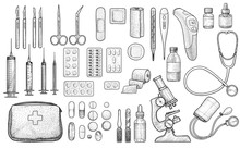 Medical Tool Collection Illustration, Drawing, Engraving, Ink, Line Art, Vector