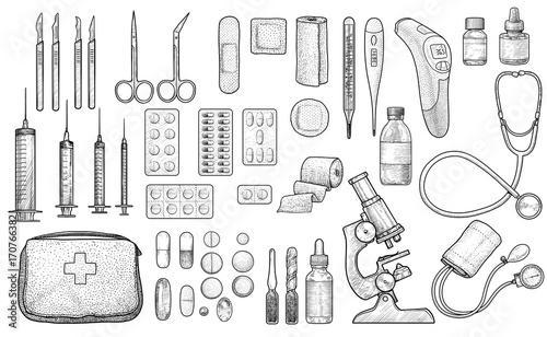 Fototapeta Medical tool collection illustration, drawing, engraving, ink, line art, vector