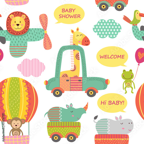 seamless pattern with baby jungle animals in transport  - vector illustration, e Wallpaper Mural