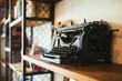 Old Typewriter on a Bookshelf