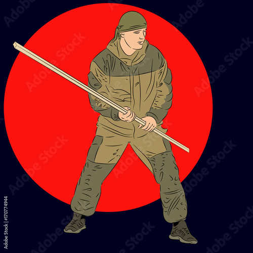 Army commando with staff Poster