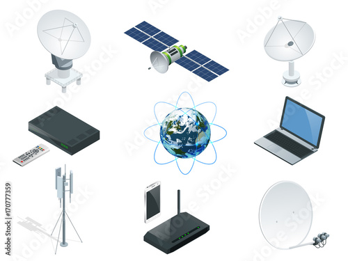Fotografía  Isometric Wireless Technology and Global communication icons towers satellite an