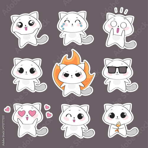 фотография Set of cute cat character with emotions. Vector cat