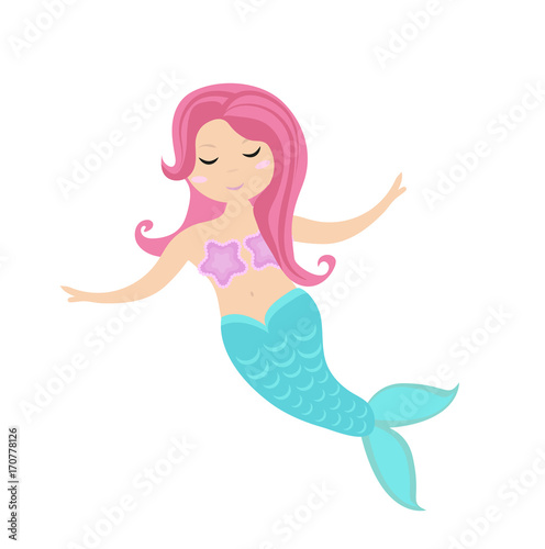 Photographie  Little mermaid icon, flat style